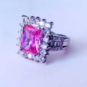 NEW! LARGE EMERALD CUT PINK SAPPHIRE COCKTAIL RING